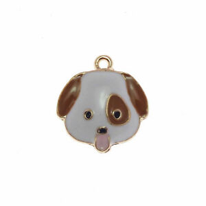 Lot of 10 Cute Dog Head Charm Enamel Plated Necklace Pendant Findings 20x22 MM