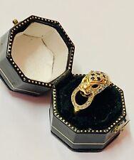 """18ct Yellow Gold Sapphire & Diamond Leopard Ring"" Superb"