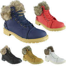 Womens Ladies Fur Lining Lace Up Buckle Work Combat Army Ankle Boots Shoes Size