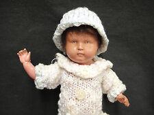 "Vintage Celluloid Girl Doll 8"" Marked Royal Fleur de Lis Mark Crocheted Clothes"