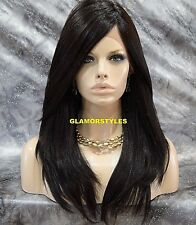 Straight Long Layered Jet Black Full Lace Front Wig Heat Ok Hair piece #1 NWT