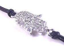 Khamsa Argent Noir Bracelet Mauvais Oeil Charm Kabbale Main De Fatima Judaica