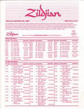 #MISC-0583 - MARCH 28 1988 ZILDJIAN CYMBAL musical instrument catalog price list