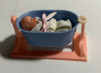 Vintage Tiny Plastic Jointed Baby Doll - Sleepy Eyes - Hong Kong With Bassinet