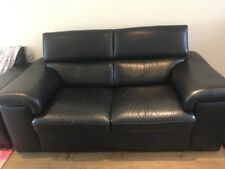 LARGE BLACK LEATHER SOFA ( Harveys )
