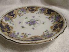 Andrea By Sadek Vintage (1997-2002) Royal Violets Pattern Saucer w/Gold Trim