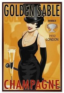 GOLDEN SABLE CHAMPAGNE METAL TIN SIGN POSTER WALL PLAQUE