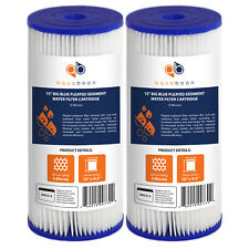"""2PK of Big Blue 5µm Pleated Washable Sediment Water Filter 10""""x4.5"""" by Aquaboon"""