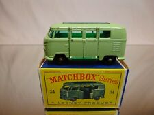 MATCHBOX LESNEY 34 VW VOLKSWAGEN T1 CAMPING CAR - GREEN - VERY GOOD IN BOX