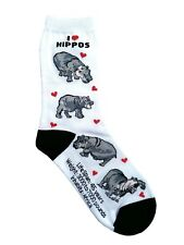 I love Hippos (50801) Women Socks Cotton New Gift Fun Unique Fashion