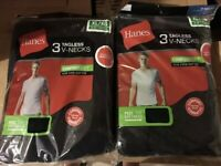 Hanes Mens 8 Pack Black  Tag less  V Neck T- Shirt  S M L XL 2XL  Comfort Soft!!