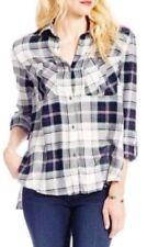 Jessica Simpson Dion Blue Tango Plaid Roll Sleeve Shirt Size M