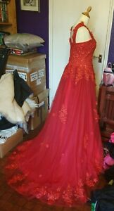 Red Wedding Dress with black veil - goth alternative