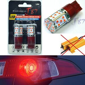 Hyper Flash Free LED Light 7440 Red Two Bulbs Front Turn Signal Replace Upgrade