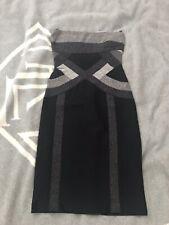 Herve Leger Strapless Bandeau Grey Bandage Bodycon Dress Size XS 6 8 UK