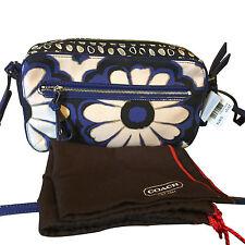 Authentic Coach 25121 Poppy Floral Scarf Print Crossbody Shoulder Bag Blue/Black