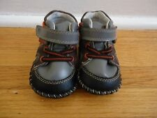 Pediped Toddler Franklin Shoes Grey/Orange Leather Sole 6-12 mos