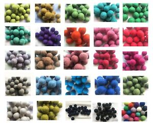 2cm Felt,Wool,20 Craft Pom Pom,Nursery Balls,Handmade,many colours,many shades