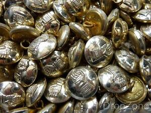 """British Army Small Staybrite Buttons 3/4"""" Royal Armoured Corps, Approx. 100"""
