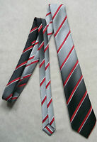 VINTAGE SILVER GREY WHITE STRIPED CLUB TIE 1960'S 1970'S MOD CASUAL RETRO