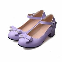 Sweet Ladies Spring Ankle Strap Mary Jane Lolita Bowtie Low Heels Pumps shoes