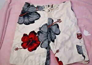 Vintage  Quiksilver Surf Board Shorts Shaka Comb  Hawaiian Hibiscus Flower ~B5