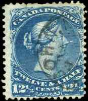 Canada #28 used F 1868 Queen Victoria 12 1/2c blue Large Queen St. John,NS CDS