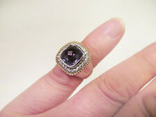 *Signed TGI Sterling Silver Gold Vermeil Solitare Ring Purple Crystal Size 7