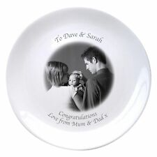 """Personalised Photo 8"""" Bone China Coupe Plate with Photo and Messages"""