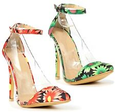 Liliana Olga Green Orange Floral Pointy toe Pump High Heel PVC Women's Shoes