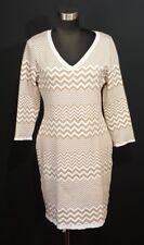 Charming Charlie Sweater Dress Womens Size Large Chevron V Neck Cream Tan