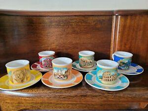 6 Tazze Da Caffe Con Piattino Italian Cup & Saucer Set Souvenir from Rome