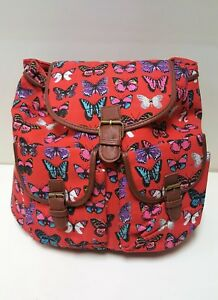 Red Canvas BUtterfly Canvas Rucksack with matching Double Zip Purse