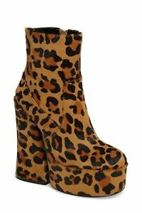 Shellys London Rogue Leopard Cheetah Pony Hair Chunky heel Retro Platform Bootie