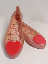 MELISSA❤Ltd Ed Ultragirl Heart Dusty Rose/Pink Rubber Ballet Flats Size 10 M