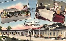 Linen Postcard Multiple Views of Colonial Motel in Hagerstown, Maryland~112565