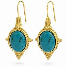 "Egyptian Jewelry Turquoise Revival Earrings 22 Karat Gold Plated 1-1/2"" Long"