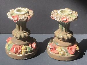 GORGEOUS Vintage PAIR Candlesticks Candle HOLDERS CHALKWARE Flowers Antique Rose