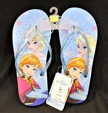 Disney Frozen Flip Flop Rubber Sandals Elsa & Anna Girls Size L 4/5