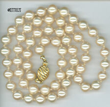 """Marvella Cream Faux Pearl Individually Knotted 17"""" Necklace with Gold Box Clasp"""