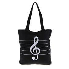 Music Theme Tote Handbag Girls Shoulder Bag Reusable Shopping Grocery Bag