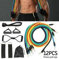 12Pcs Set Resistance Bands Workout Exercise Crossfit Fitness Training Tubes yoga