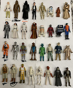 32 Star Wars Figures Lot Vintage Case Weapons 1977 - 1984 Complete 1st 12 and 21