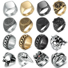 Men's Stainless Steel Fashion Cool Gothic Punk Biker Finger Rings Male Jewelry