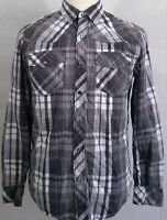 Helix Mens Medium Long Sleeve Pearl Snap Button Front Gray w/ White Plaid
