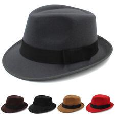 2cf523d93a9322 Men Women Solid Hard Felt Fedora Hats Trilby Caps Sunhat Jazz Gangster Size  M