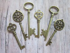 6 x large antique bronze skeleton keys wedding vintage fancy pendants santa new