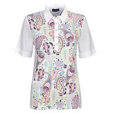 NWT Golfino White Holiday Dreams Paisley Ladies Golf Polo Shirt Top Size 8 NEW