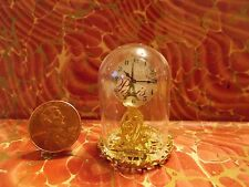 New! Elegant Gold Glass Dome Mantle Clock Dollhouse Miniatures Dome Clock