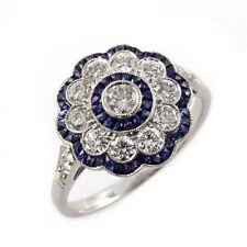 1.50ct Vintage Art Deco Round Blue & White Sapphire 925 Silver Engagement Ring $